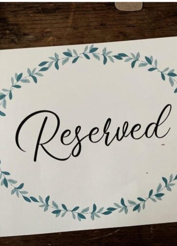 Wedding Reserved Seat Sign
